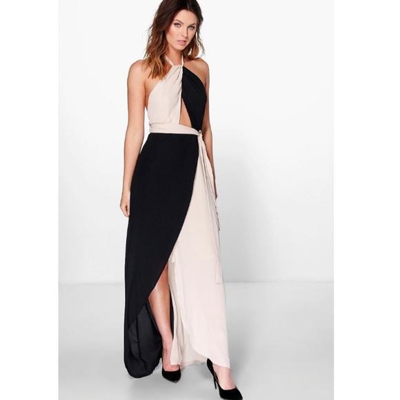 Boohoo Dresses & Skirts - Boohoo night halter chiffon maxi dress
